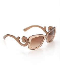 15e1f9750040 Prada Brown Transparent Square Flourish Sunglasses