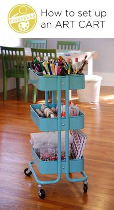 Set up an art cart on wheels. My idea is using pvc and some baskets to mimic this
