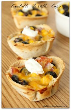 Vegetable Tortilla Cups - need to try these