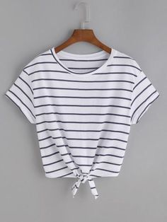SheIn offers Striped Knot Front Tee & more t - French Shirt - Ideas of French Shirt - Shop Striped Knot Front Tee online. SheIn offers Striped Knot Front Tee & more to fit your fashionable needs. Crop Tops For Kids, Cute Crop Tops, Cropped Tops, Shirts For Teens, Dresses For Teens, Outfits For Teens, Cute Teen Shirts, Cute Summer Shirts, Teen Crop Tops