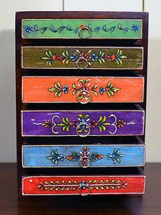 Hand Painted Six Drawer Chest - Sourced in India | eBay