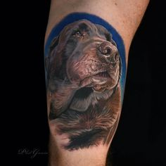 Choose a carefully tattoo master who is a professional in business. Only such a person will be able to faithfully transfer your pet from the photo to your body. Photo Realism Tattoo, Dog Portrait Tattoo, Lion Tattoo, Dog Tattoos, Animal Tattoos, Tattoo Art, Tribute Tattoos, Tattoo Master, Tribal Sleeve Tattoos