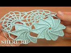 How TO Crochet Spider Web Lace Урок 23 часть 2 из 2 Ленточное кружево с ...