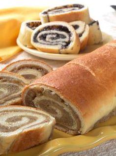 Traditional nut rolls and poppy seed rolls taste like homemade. Nut rolls contain English walnuts. Poppyseed rolls are made with special poppyseed butter. Slovak Recipes, Ukrainian Recipes, Czech Recipes, Hungarian Recipes, Russian Recipes, Hungarian Nut Roll Recipe, Russian Foods, Gourmet Recipes, Dessert Recipes