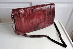 70s Burgundy Eelskin Genuine Leather Handbag Purse By Loukiesworld On Etsy