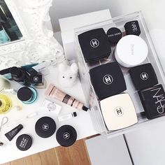 15 Things You'll Find In EVERY Fashion Girl's Apartment #refinery29  http://www.refinery29.com/fashion-home-decor-items#slide15  Neatly Arranged Products  Doesn't everyone organize their Chanel compacts in lucite trays?
