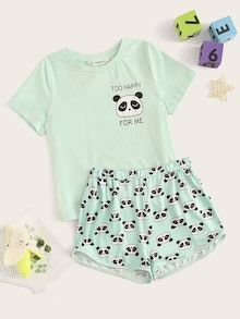 To find out about the Girls Panda Print Top & Shorts PJ Set at SHEIN, part of our latest Girls Loungewear ready to shop online today! Cute Lazy Outfits, Teenage Outfits, Kids Outfits Girls, Stylish Outfits, Cute Pajama Sets, Cute Pajamas, Girls Pajamas, Cute Pjs, Girls Fashion Clothes