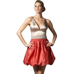 Pre-owned Maria Bianca Nero Taffeta Bottom Bubble Dress ($120) ❤ liked on Polyvore featuring dresses, terra cotta, red ruched dress, ruched dress, v neck dress, bubble hem dress and a line dress