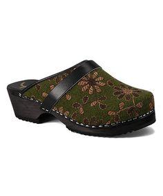 Look at this #zulilyfind! Olive Floral Leather Clog - Women #zulilyfinds