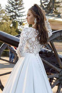 Fleur White Taffeta Modest Wedding Dress with Beaded Lace Sleeves Modest Wedding Dresses, Wedding Dress Styles, Bridal Dresses, Gown Wedding, Lace Wedding Dress With Sleeves, Lace Sleeves, Ball Dresses, Ball Gowns, Taffeta Skirt