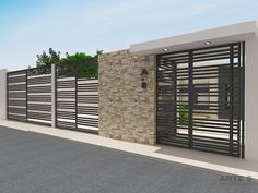 modern home exterior wall design house front decoration ideas 2019 Home Gate Design, Exterior Wall Design, Modern Fence Design, Modern House Design, Gate House, Facade House, Decoration Facade, Small House Renovation, Garage Gate