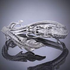 Fashion Cool 925Sterling Silver China Dragon Women Men Cuff Bracelet Gb222
