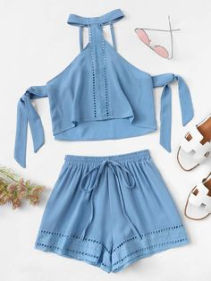 Product name: Lace Insert Halterneck Top & Shorts Set at SHEIN, Category: Two-piece Outfits Cute Summer Outfits, Trendy Outfits, Girl Outfits, Cute Outfits, Fashion Outfits, Womens Fashion, Two Piece Outfits Shorts, Trendy Dresses, Clothing Co