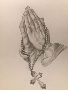 Praying hands for blees my family Rosary Tattoo Arm, Prayer Hands Tattoo, Praying Hands Tattoo Design, Praying Hands Drawing, Chicano Tattoos Sleeve, Tattoos Skull, Forearm Tattoos, Foot Tattoos, Dear Tattoo