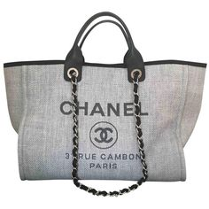 Cloth tote CHANEL (2,950 CAD) ❤ liked on Polyvore featuring bags, handbags, tote bags, gray purse, chanel tote, gray tote bag, gray handbags and chanel purse