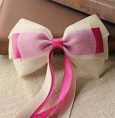 $3.9 Beige ribbon bow handmade jewelry Korean headdress head clip hair accessories hairpin hair circle t0197-ZZKKO