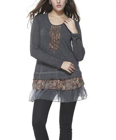 Another great find on #zulily! Charcoal Floral Scoop Neck Tunic by Simply Couture #zulilyfinds