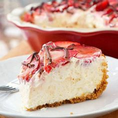 Strawberries and Cream Pie  Recipe by Just Putzing Around the Kitchen at http://www.justputzing.com/2012/01/strawberries-and-cream-pie.htm