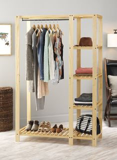 Amazon.com: Whitmor Slat Wood Wardrobe: Home & Kitchen