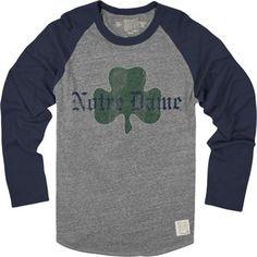 Original Retro Brand Notre Dame Fighting Irish Shamrock Vintage Raglan Long Sleeve T-Shirt