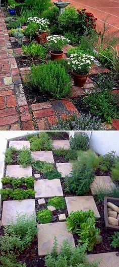 The Checkerboard Herb Garden. Even if it rains you can get to your herbs. 22 Ways for Growing a Successful Vegetable Garden #indoorvegetablegardening #Containervegetablegardening