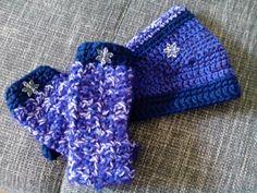 Zimní čelenka s návleky na ruce Frozen Anna Háčkovaná souprava čelenka ozdobená vločkou a zapínáním na knoflík, lze upravit velikostech a návleky na ruce komplet vhodné od 4 let.