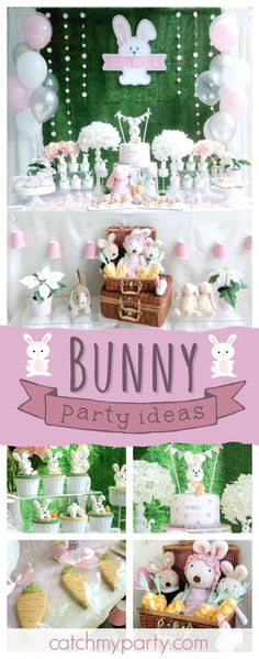 Check out this fun bunny themed birthday party! The bunny cupcakes are so cute!! See more party ideas and share yours at CatchMyParty.com #bunny #girlbirthday