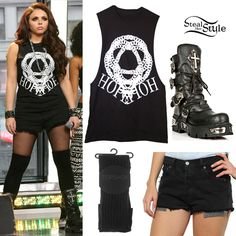 Jesy Nelson takes the stage with the Little Mix girls on Good Morning America yesterday. She wore a Black Jennifer Hope Logo Vest (£20.00), the Vintage Levi's Raw Cut Shorts ($49.54), Black Thin Rib Over-Knee Socks from Topshop ($12.00) and a pair of New Rock World Bufalo Boots ($298.06).