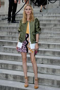 Olivia Palermo wearing 3.1 Phillip Lim Trompe L'Oeil Underplay Bomber Jacket in Everglade, Giambattista Valli Spring 2016 Top & Skirt and Jimmy Choo Helena Tan Suede Pumps