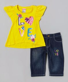 Look what I found on #zulily! Yellow 'Love' Swing Top & Capri Pants - Infant, Toddler & Girls #zulilyfinds