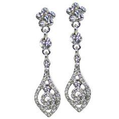 Vintage Vogue Swarovski Crystal & CZ Drop Pierced Earrings, £18