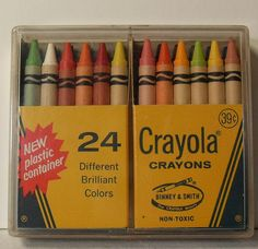 1970s Crayola Crayons Vintage Box of 24 in Plastic Case.