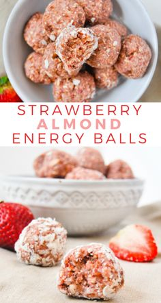 These strawberry almond energy balls are jam packed with healthy ingredients, and they only take 5 ingredients and 5 minutes to make. snacks No Bake Strawberry Almond Energy Balls Desserts Végétaliens, Whole Food Desserts, Whole Food Recipes, Dessert Recipes, Recipes Dinner, Eat Clean Desserts, Clean Eating Sweets, Clean Eating Kids, Raw Vegan Desserts