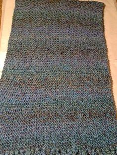 Multi-blue colored knit prayer shawl Great for gift giving, keeping warm, etc. Beautiful mixture of blues knit in homespun acrylic $65