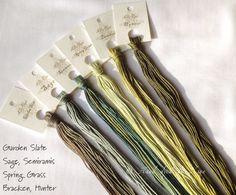 Garden Slate, Sage, Semiramis, Spring Grass, Bracken, Hunter - Hand painted (hand dyed) floss for cross stitching, multicoloured threads via Etsy