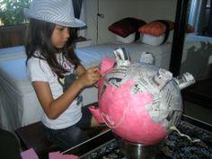 Papier Mache Pig Pinata - In Progress with Kid 2