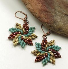 SUPERDUO DANGLE EARRINGS-Turquoise Picasso Duos-White Picsso Duos-Copper-Swirl Earrings-Star Earrings-Leverback Earwires by CinfulBeadCreations on Etsy