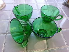 Anchor Hocking Green set of four cups Vintage by Morethebuckles