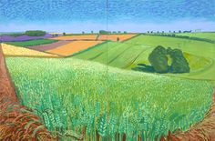 David Hockney Landscapes | David Hockney The East Yorkshire Landscape, Barley, Wheatfield ...