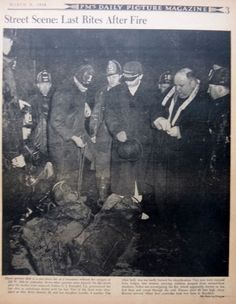 3-1942 March 8 WEEGEE PHOTO - LAST RITES AFTER FIRE FATHER KNOEPFEL - PM DAILY