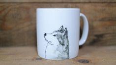 Hand painted animal mug  - Cute mug cup - dog mug cup - dog mug - Siberian Husky dog by CreativeStoneCera on Etsy