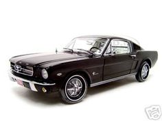 1965 Ford Mustang 22 Fastback Diecast Model Black 1/18 Die Cast Car By Ertl Authentics