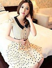 Casual Collar Magro Boneca Feminina Bolinhas vestido de manga curta