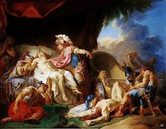 Achilles Drops the Corpse of Hector at the Feet of Patroclus. (The Iliad) Greek History, Art History, City Of Troy, Homer Iliad, Art Romain, Rome, Mythology Paintings, Greece Mythology, Paintings