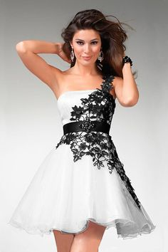 shop Homecoming Dress 2012 Collection New Arrival Homecoming Dresses Fall Colors White Short Mini Lace One shoulder A Line Organza Zipper Up Chic Modern in trendy colors, wide selection cute & vintage gowns for discount.