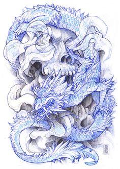 zumi: tattoo sketchbook: 020 by fydbac on DeviantArt Tattoo Sketchbook, Tattoo Sketches, Tattoo Drawings, Art Drawings, Sketchbook Project, Skull Tattoos, Sleeve Tattoos, Dragon Tattoos, Blackwork