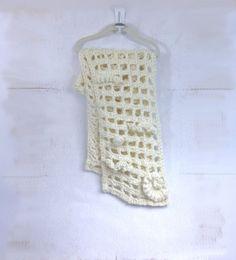 Crochet FreeForm Scarf Mesh  Off White Acrylic by bayahta on Etsy, $40.00