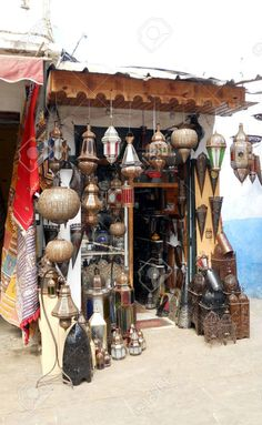 Moroccan Crafts Shop In Morocco Selling A Variety Of Traditional. Stock Photo, Picture And Royalty Free Image. Photos Free, India Home Decor, Star Wars Planets, Medieval Market, Moroccan Lighting, Environment Concept Art, Arabian Nights, Royalty Free Images, Ramen