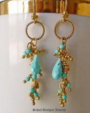 Schaef Designs Sleeping Beauty turquoise & 22kt gold vermeil Long Dangle Earrings | New Mexico