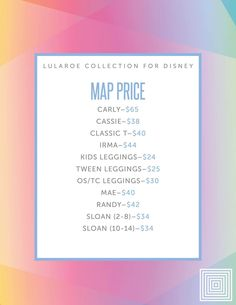 8aa2d93e55ac81 Pricing for the LuLaRoe Collection for Disney!! Lularoe Irma Price, Lularoe  Price Chart
